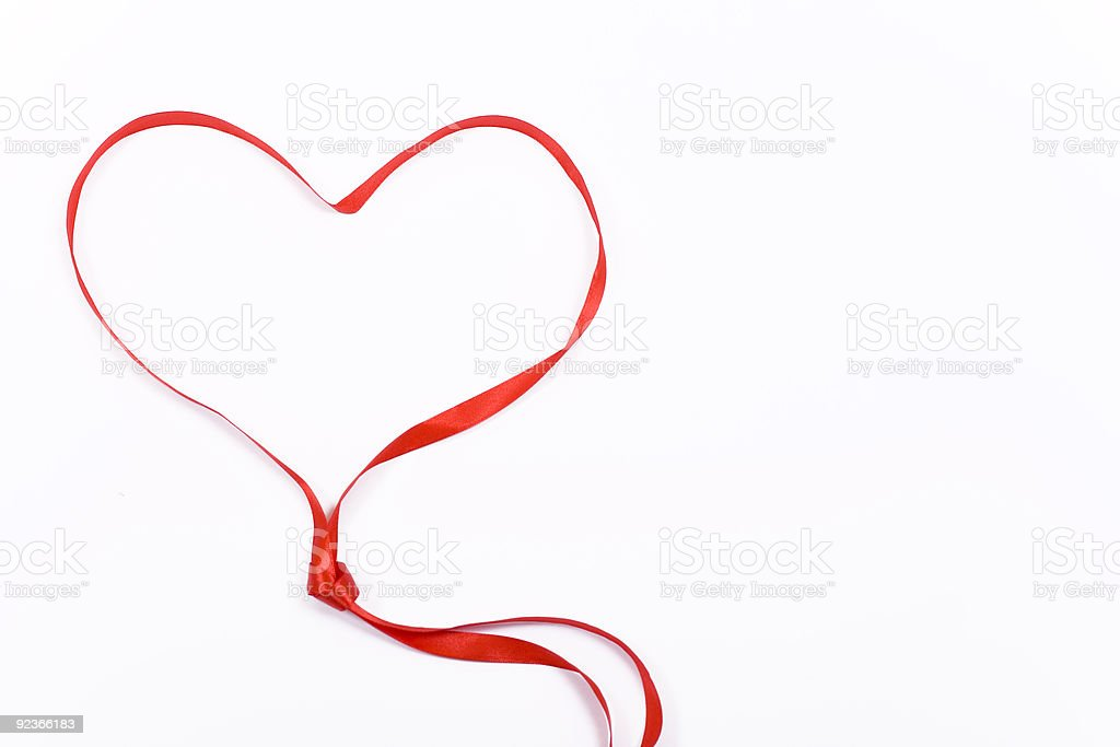 closeup of a heart shaped ribbon royalty-free stock photo