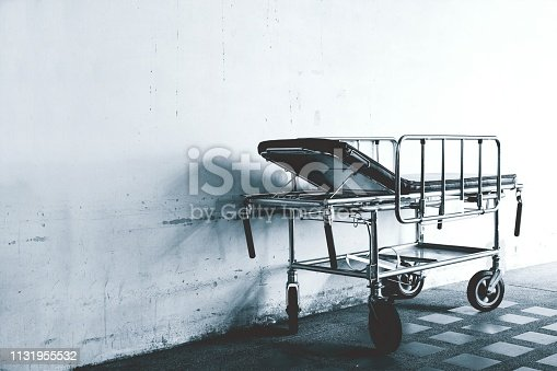 istock B&W Closeup of a hospital bed,mobile hospital bed, 1131955532