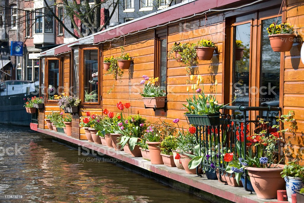 Close-up of a houseboat in Amsterdam royalty-free stock photo