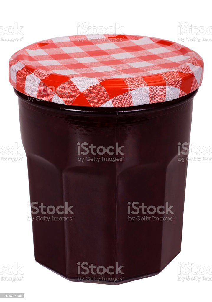 Close-up of a jar of strawberry jam stock photo