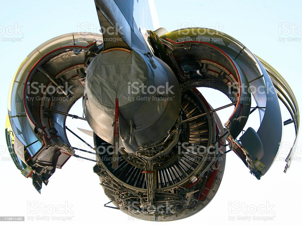Close-up of a jet engine isolated on a white background stock photo