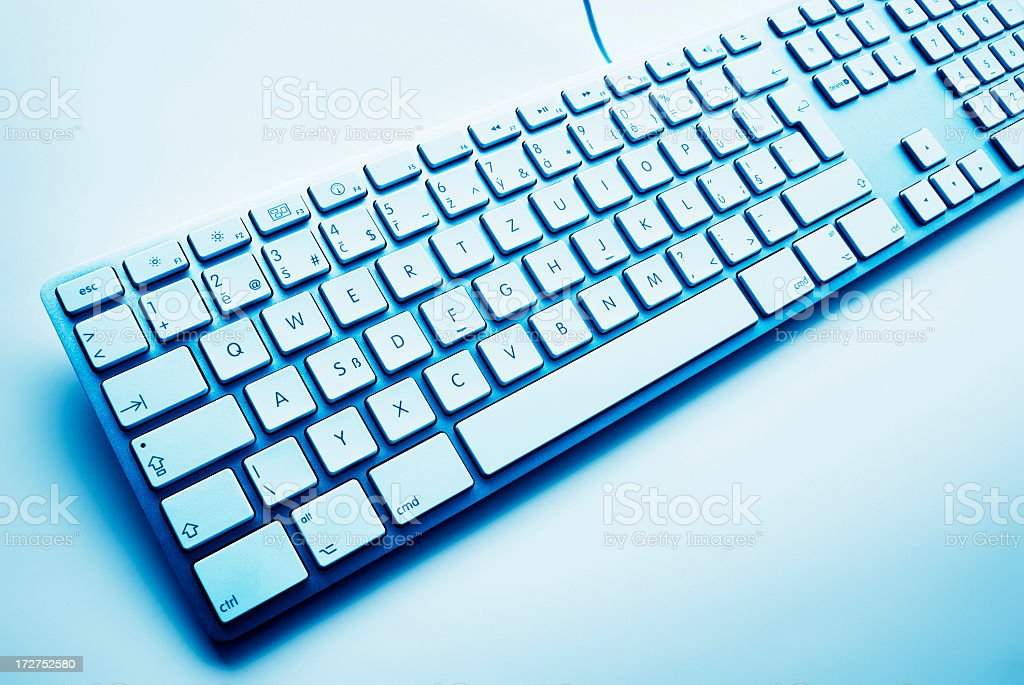 A close-up of a keyboard on a white background royalty-free stock photo