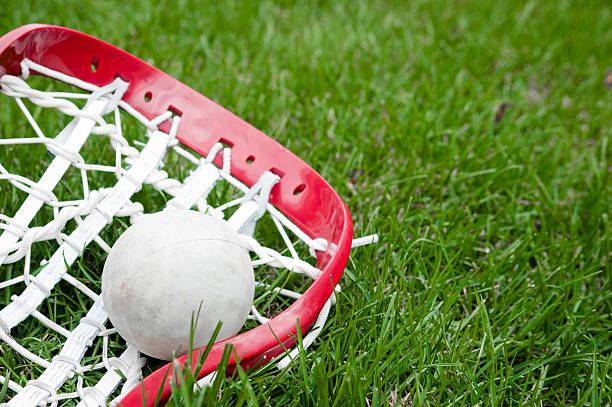 głowa dziewczyny gry w lacrosse piłka na trawie i szary - lacrosse zdjęcia i obrazy z banku zdjęć