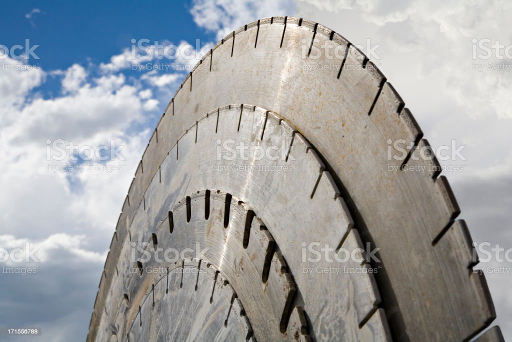 A close-up of a large saw blade royalty-free stock photo