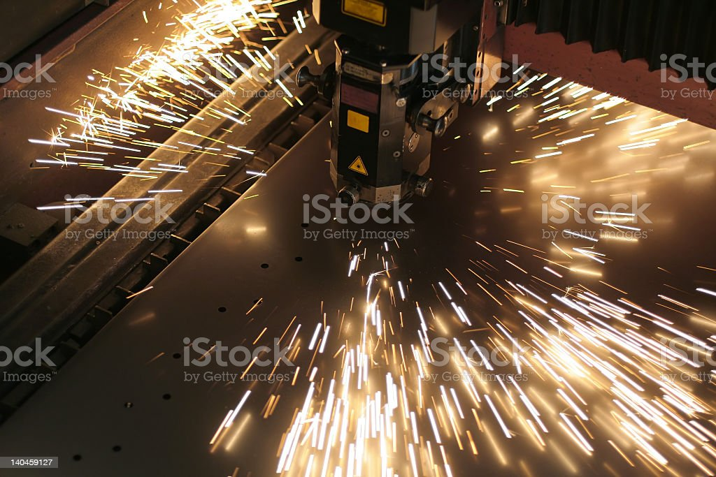 Close-up of a laser tool during operation stock photo