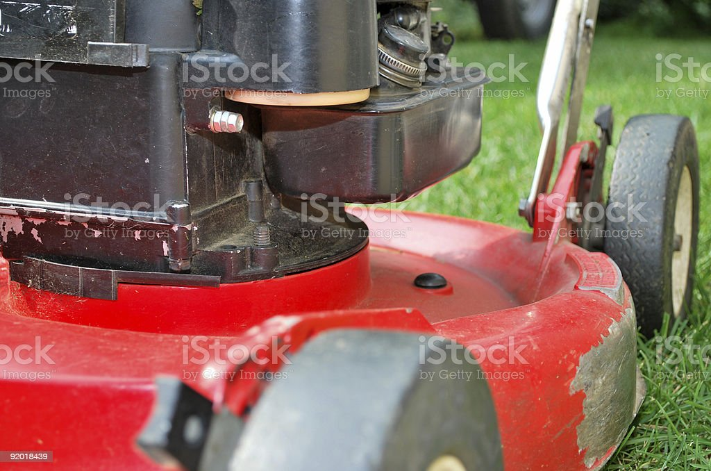 Closeup of a lawn mower royalty-free stock photo