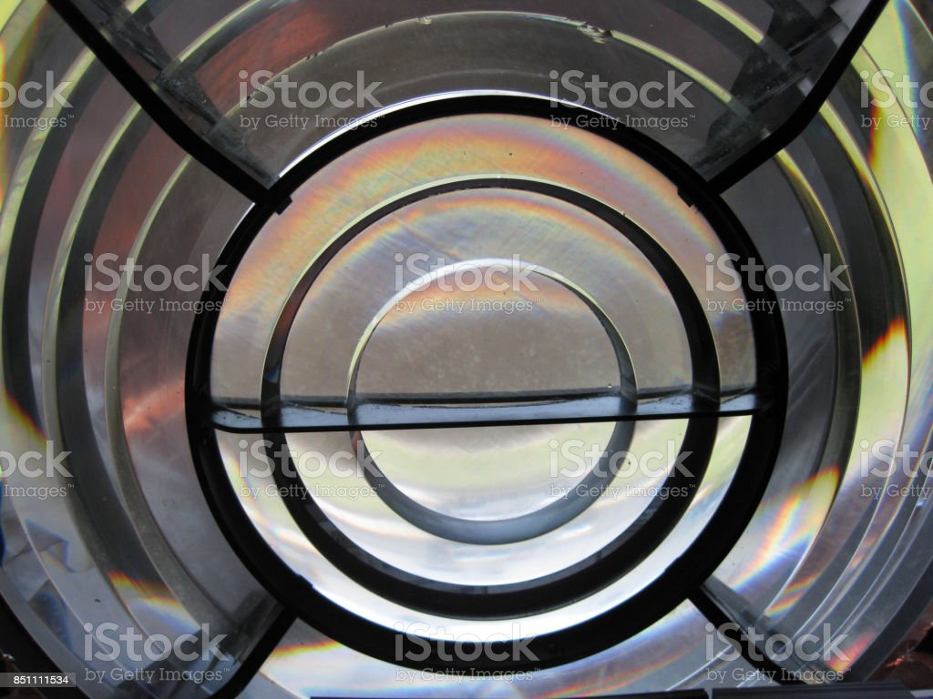 closeup of a lens/lamp of a lighthouse stock photo