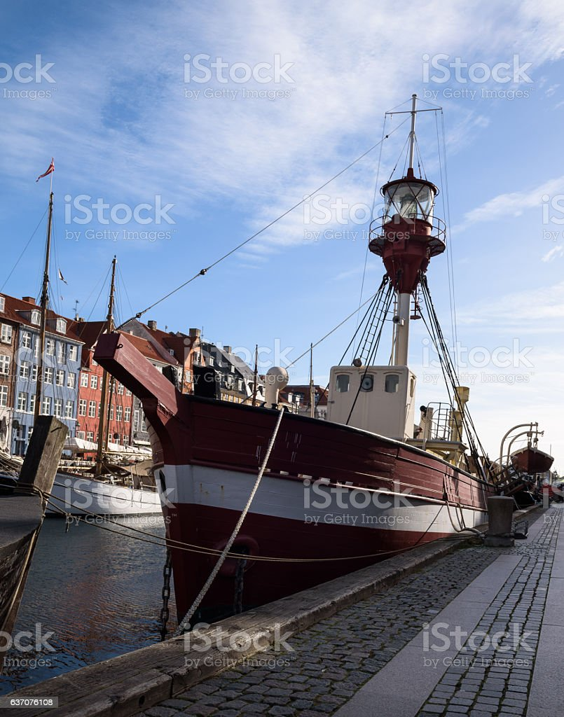 Close-up of a lifeboat in Nyhavn stock photo