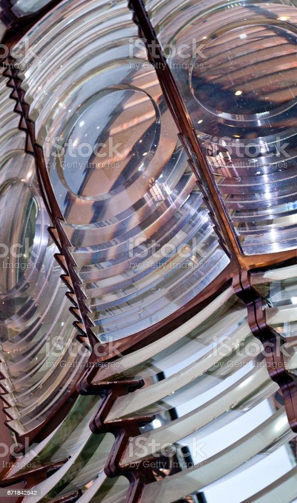 Closeup of a lighthouse lens stock photo