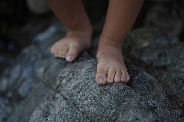 A closeup of a little boys bare feet that is balancing on the edge of a rough rock to convey a dangerous situation. stock photo