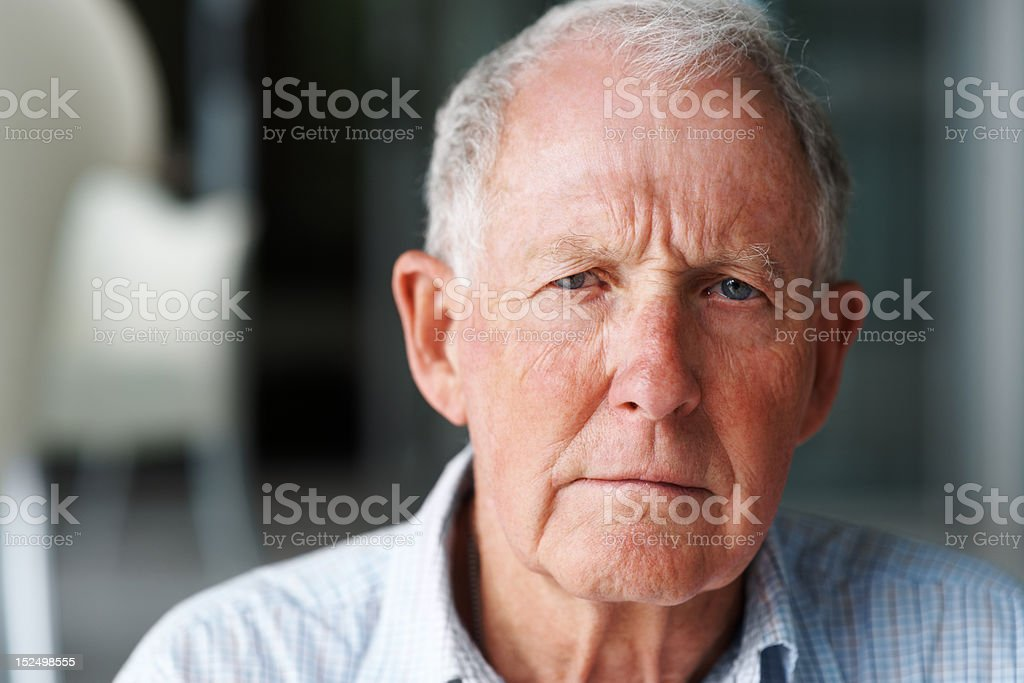 Close-up of a lonely retired man stock photo
