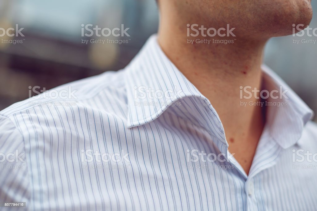 Close-up of a male shirt collar stock photo