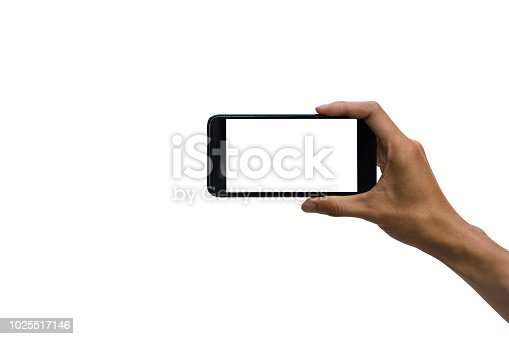 Close-up of a man hand holding black smartphone with white screen against white background include clipping path.