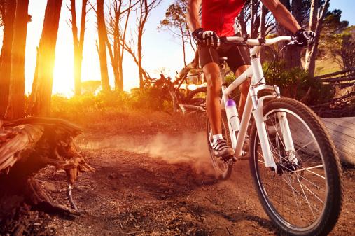 Primer Plano De Un Hombre En Bicicleta De Montaña De Equitación Trail Foto de stock y más banco de imágenes de Actividad