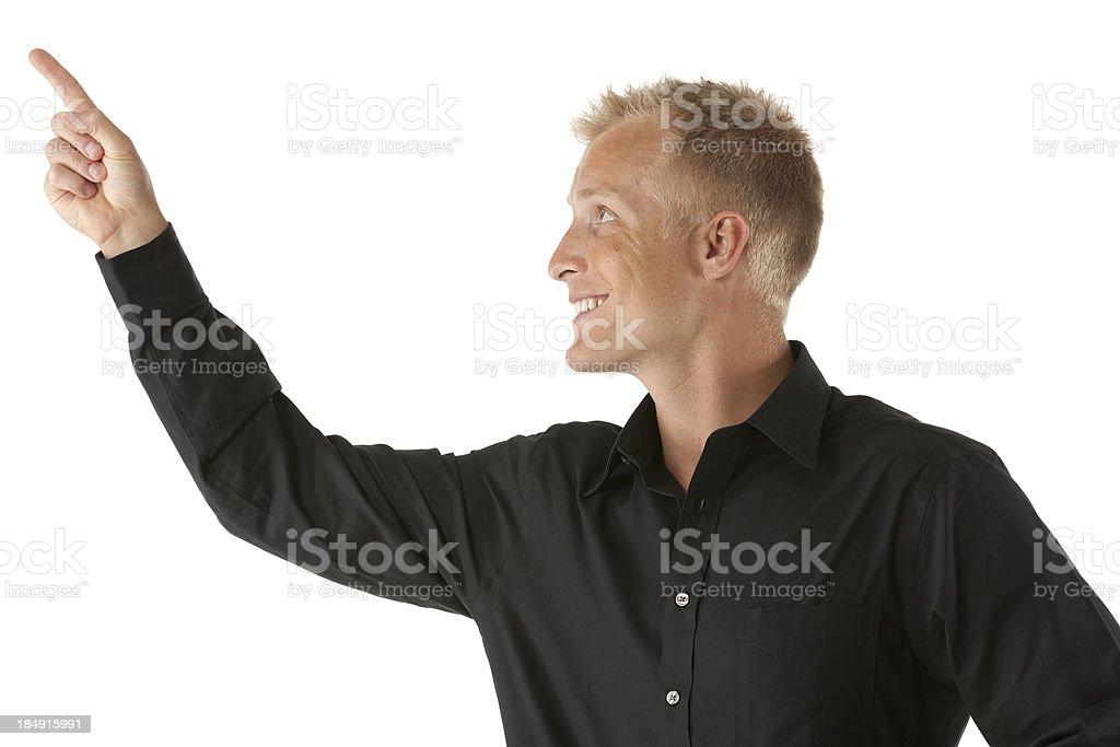Close-up of a man pointing upward stock photo