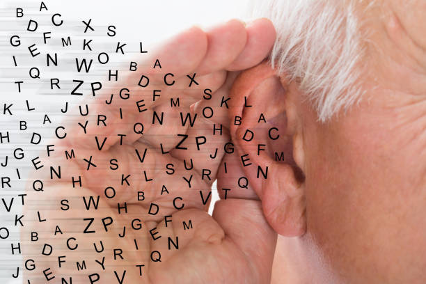 Close-up Of A Man Trying To Hear stock photo