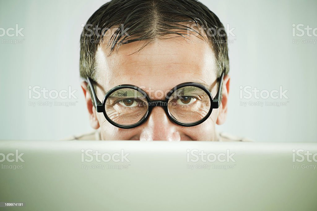 Close-up of a man with his laptop. stock photo