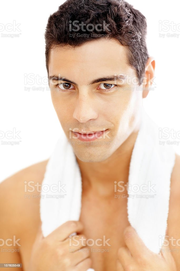 Closeup of a man with towel around neck after workout royalty-free stock photo