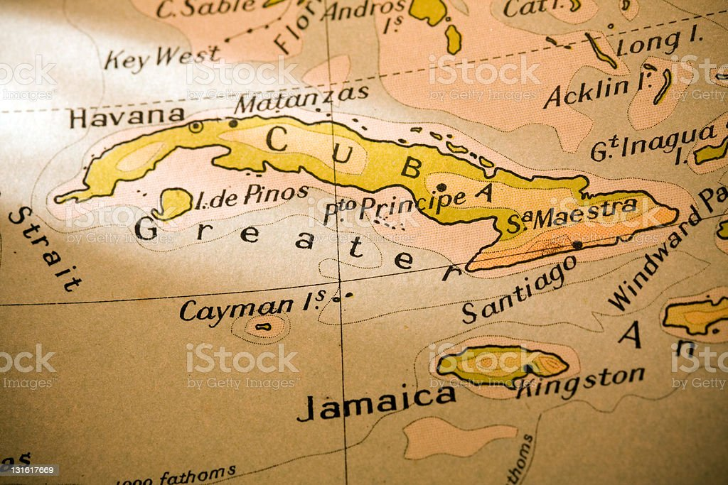 Close-up of a map of Cuba and the surrounding islands stock photo