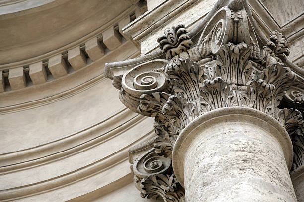 Close-up of a marble column with designs of swirls stock photo