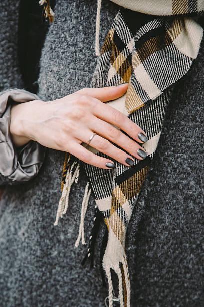 close-up of a married woman in a coat - wintermantel damen wolle stock-fotos und bilder