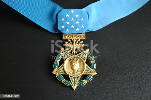 The Medal of Honor taken on a black background