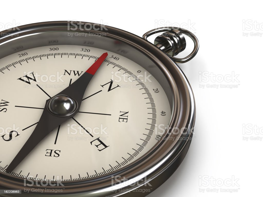 Close-up of a metal classic compass royalty-free stock photo