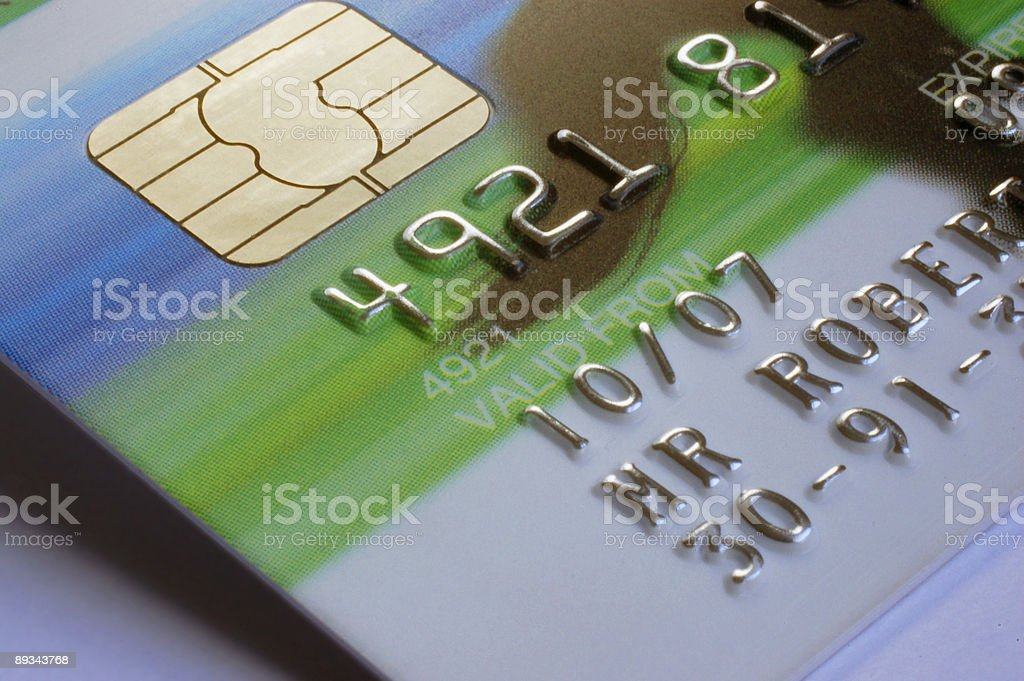 Close-up of a microchip and details on a credit card stock photo