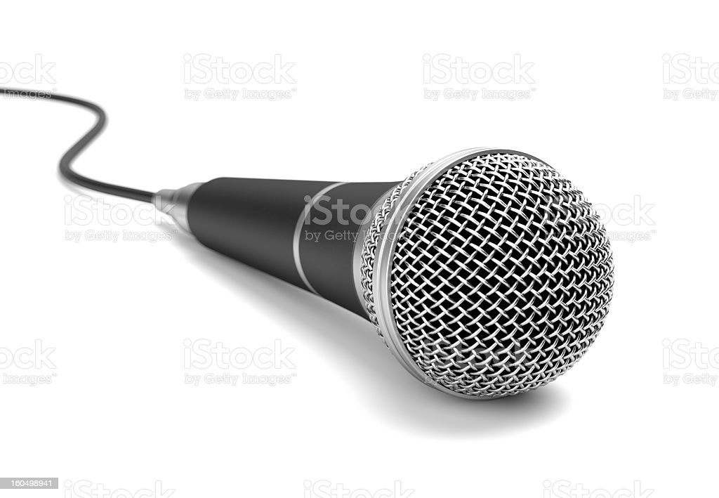 Close-up of a microphone and cord on a white background stock photo