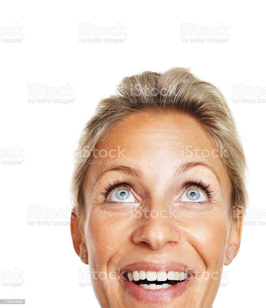 Closeu-p of a mid adult woman looking upwards royalty-free stock photo