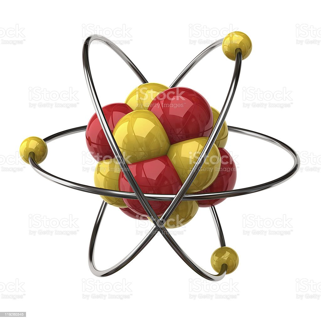 Close-up of a model illustration of an atom stock photo