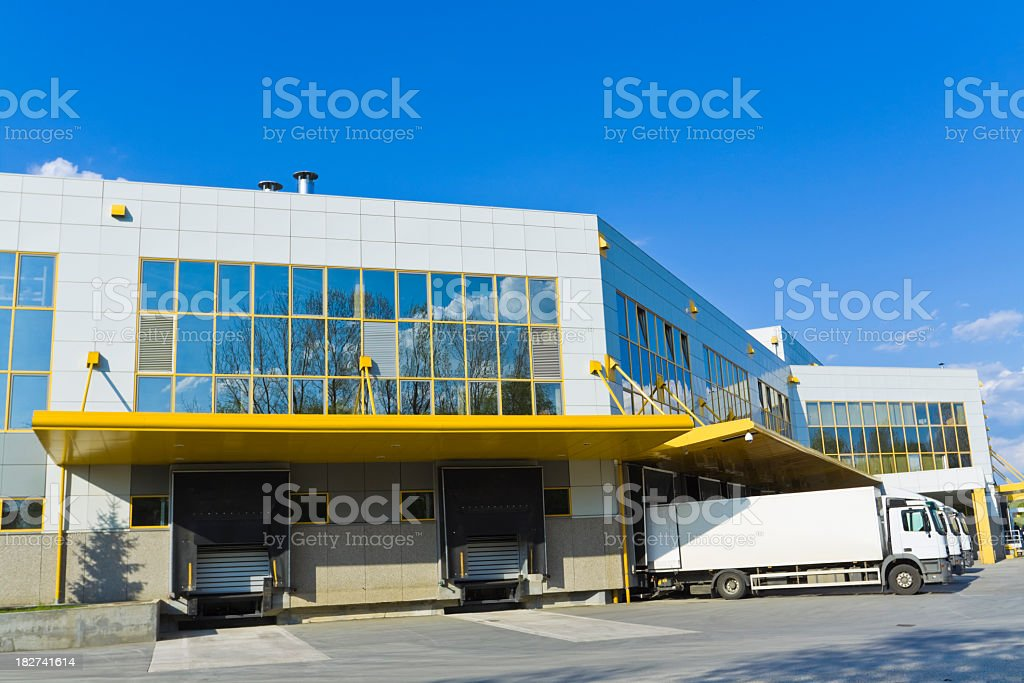 Close-up of a modern distribution center building royalty-free stock photo