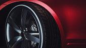 istock Close-up of a modern luxury car wheels 1080304620