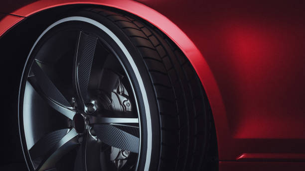 Close-up of a modern luxury car wheels stock photo