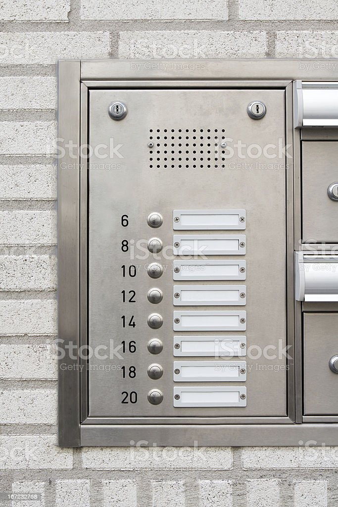 close-up of a modern nameplate with intercom doorbell royalty-free stock photo