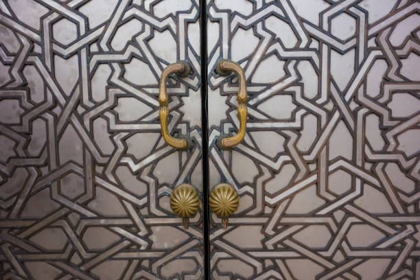 Close-up of a moroccan door in Hassan II Mosque in Casablanca - Morocco stock photo