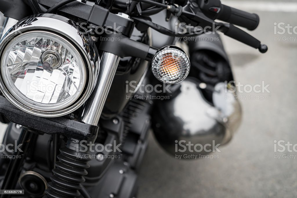 Close-up of a motorcycle stock photo