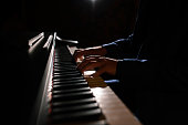 Close-up of a music performer's hand playing the piano. The Piano.