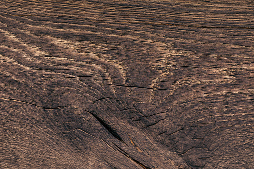 Close-up of a natural board with the place of growth of the knot. Texture of a picturesque fibrous wood for design works on a construction finishing theme. . Copy space