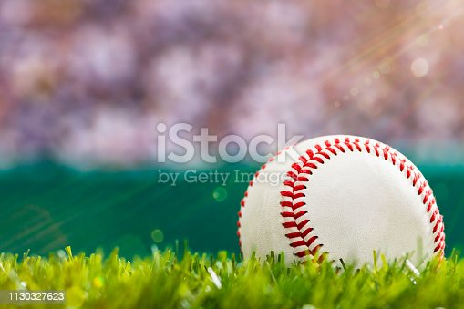 A close-up low angle view of a new baseball sitting in the grass of a stadium with wall, crowd and sunbeams shining down.