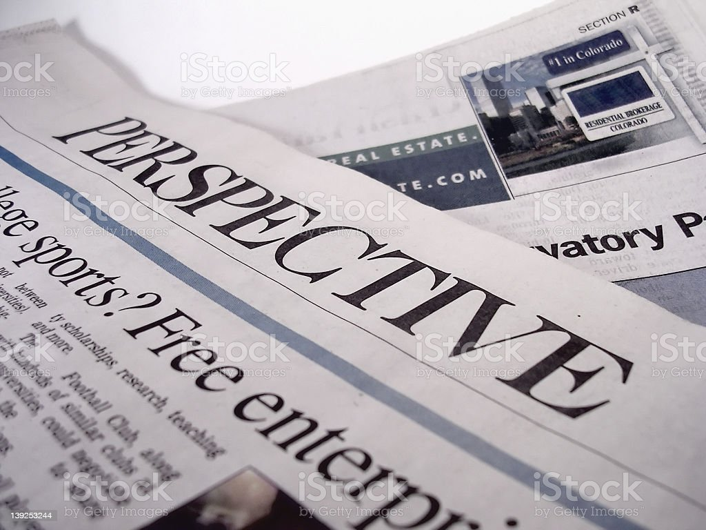 Close-up of a newspaper headline stock photo