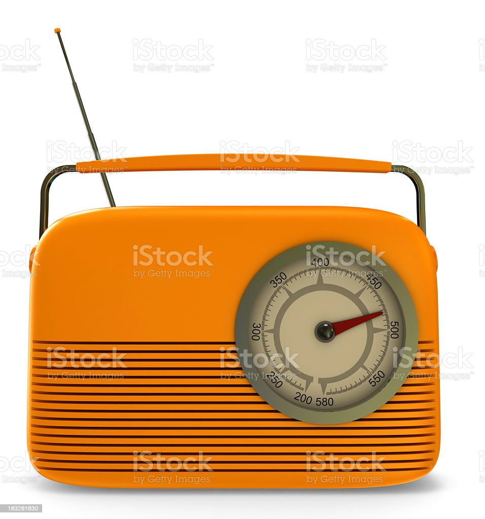 Close-up of a orange retro radio with a clipping path stock photo