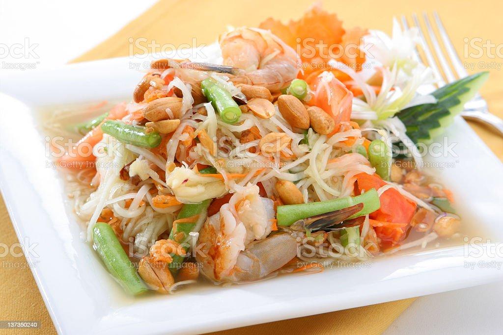 Close-up of a Papaya Salad, a typical Thai food stock photo