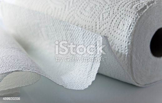 white paper towel  on  white reflective background