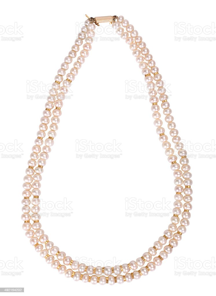 Close-up of a pearl necklace stock photo