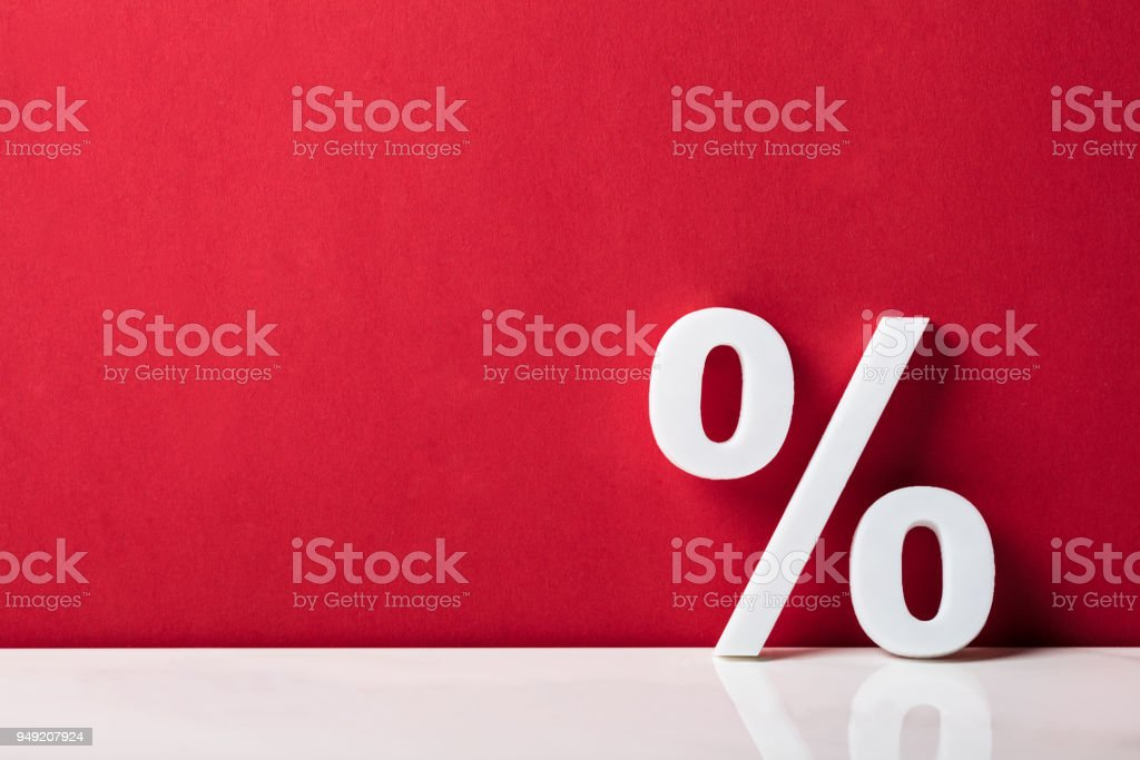 Close-up Of A Percentage Sign stock photo