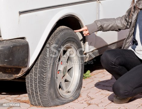 104275470istockphoto Close-up of a person kneeling by a flat tire on a white car 462280049