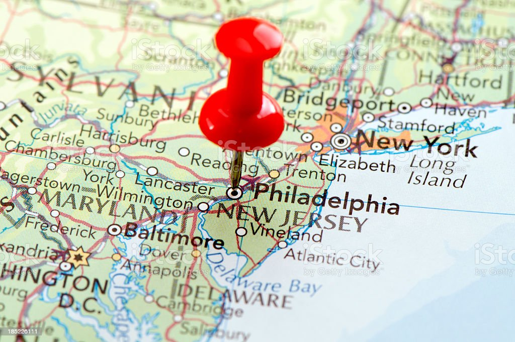 Closeup Of A Philadelphia Map With A Pinpoint On It Stock Photo - Philadelphia map