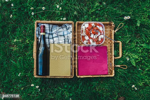 Close-up of a picnic basket in the grass