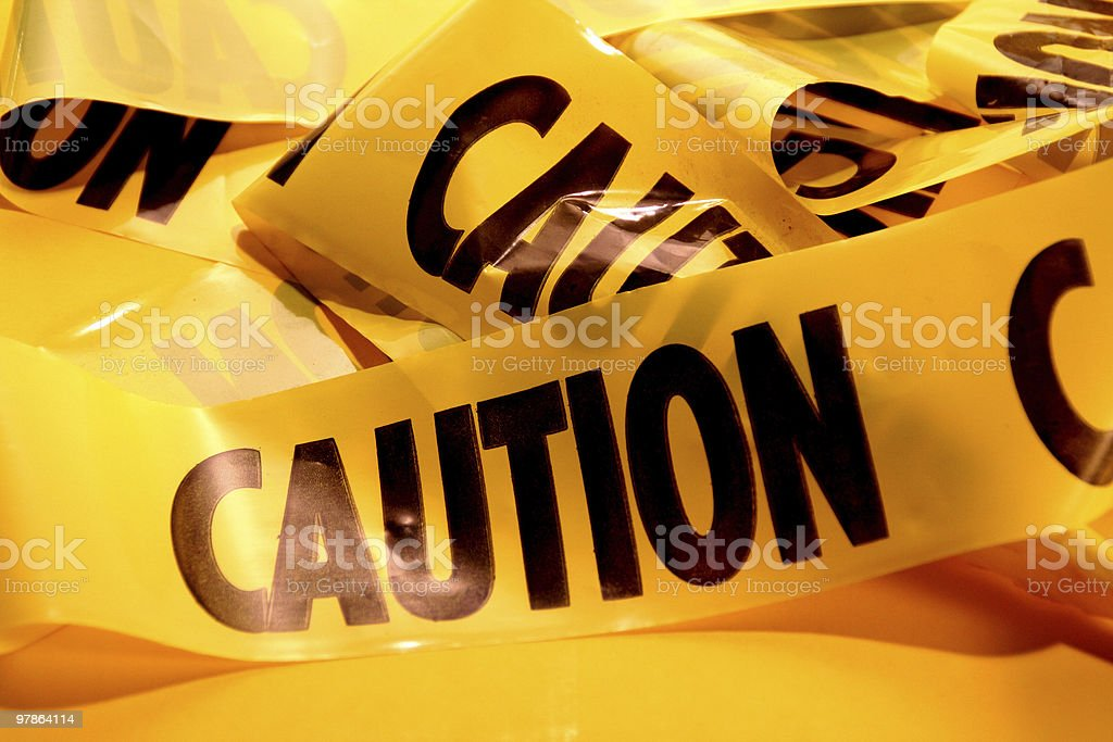 Closeup of a pile of caution tape royalty-free stock photo